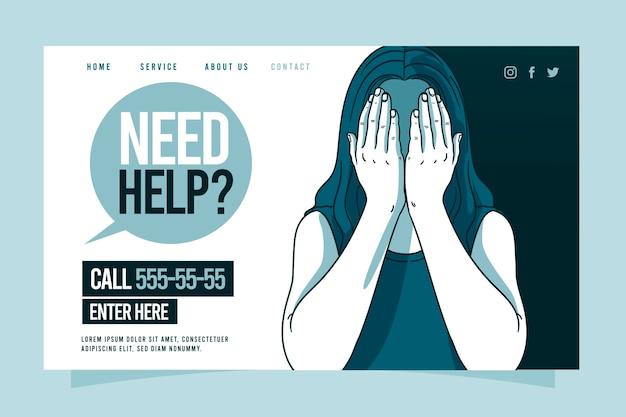 Modèle de page de destination d'aide psychologique avec femme