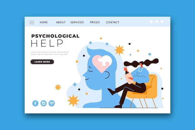 Modèle de page de destination d'aide psychologique