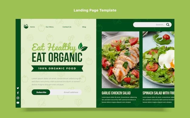 Modèle de page de destination d'aliments biologiques de conception plate
