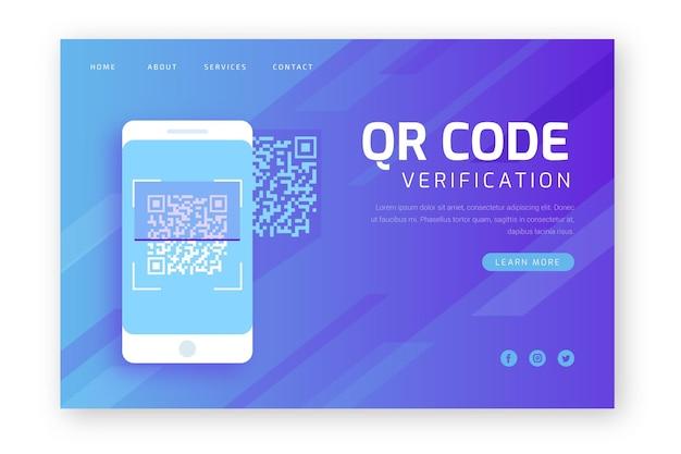 Modèle de page de destination d'analyse de code qr