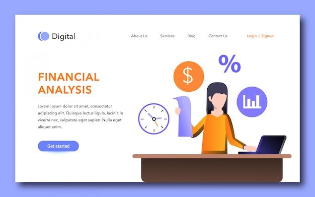 Modèle de page de destination d'analyse financière
