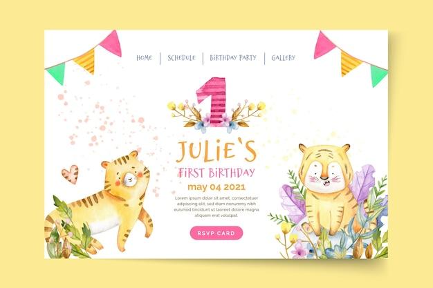 Modèle de page de destination d'anniversaire pour enfants