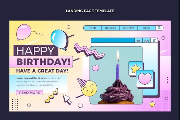 Modèle de page de destination anniversaire vaporwave rétro dégradé