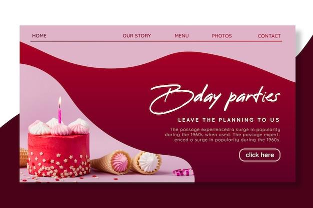Modèle De Page De Destination D'anniversaire Vecteur gratuit