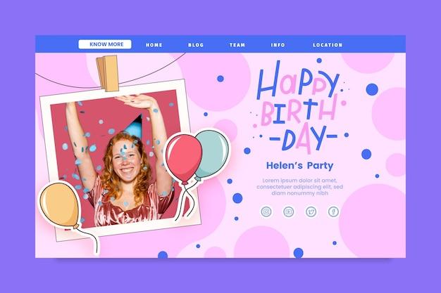 Modèle de page de destination d'anniversaire