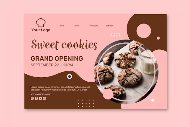 Modèle de page de destination d'annonce de cookies