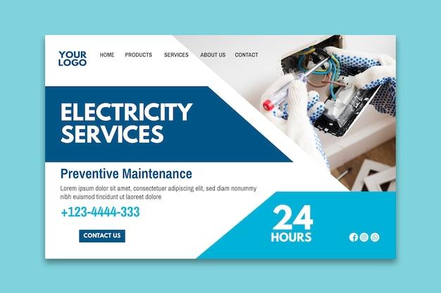 Modèle de page de destination d'annonce d'électricien