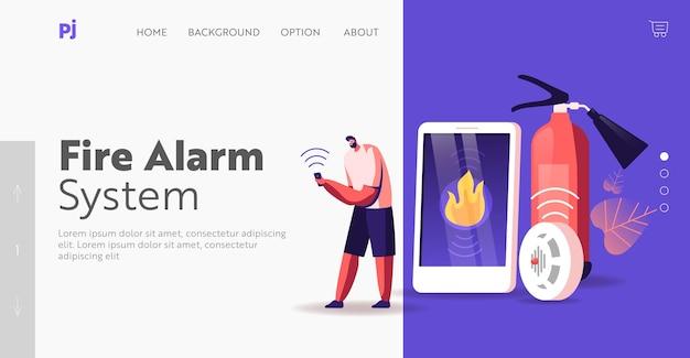Modèle de page de destination d'appel au service d'urgence. le personnage masculin reçoit une notification du système de contrôle intelligent sur le smartphone de l'appareil électronique à propos d'un accident d'incendie domestique. illustration vectorielle de dessin animé