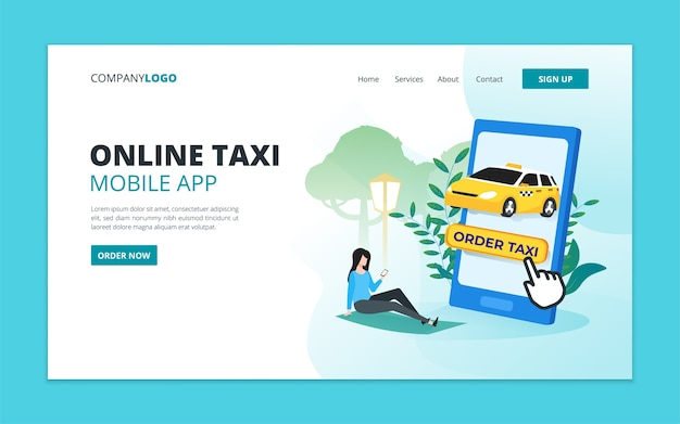 Modèle de page de destination de l'application mobile de taxi en ligne