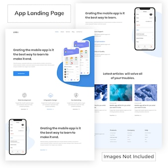Modèle de page de destination d'application moderne