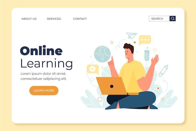 Modèle de page de destination d'apprentissage en ligne dessiné à la main