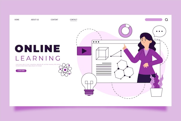 Modèle De Page De Destination D'apprentissage En Ligne Linéaire Plat Vecteur gratuit