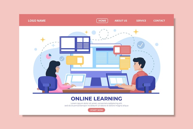 Modèle de page de destination d'apprentissage en ligne linéaire plat