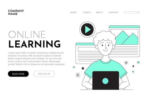 Modèle de page de destination d'apprentissage en ligne linéaire