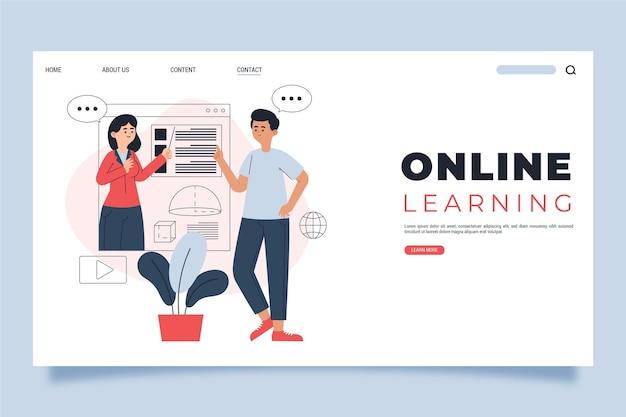 Modèle de page de destination d'apprentissage en ligne plat