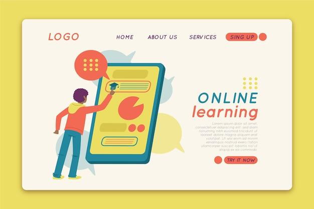 Modèle de page de destination d'apprentissage en ligne