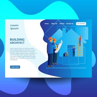 Modèle de page de destination architecte de bâtiment coloré