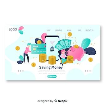 Modèle de page de destination d'argent plat