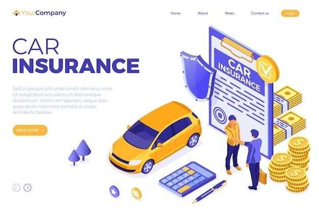 Modèle de page de destination d'assurance automobile avec police d'assurance