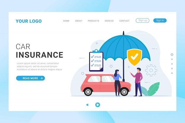 Modèle de page de destination d'assurance automobile