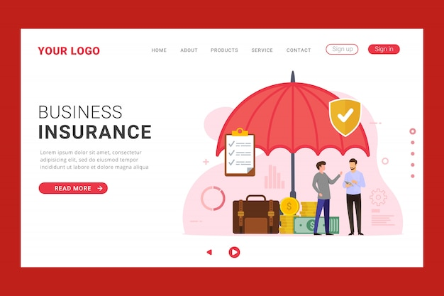 Modèle de page de destination d'assurance des entreprises