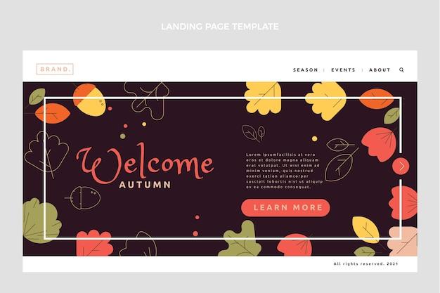 Modèle de page de destination automne plat