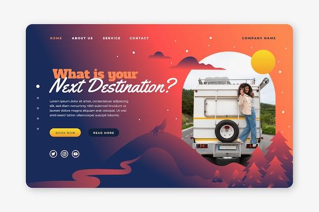 Modèle de page de destination d'aventure dégradé avec photo
