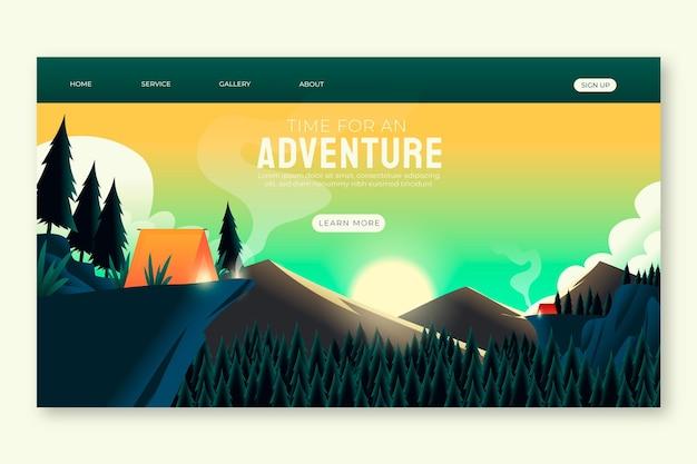 Modèle de page de destination d'aventure en dégradé