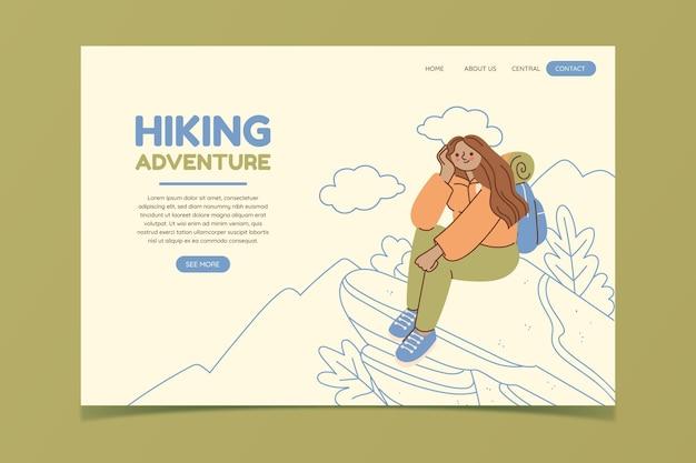 Modèle de page de destination d'aventure design plat