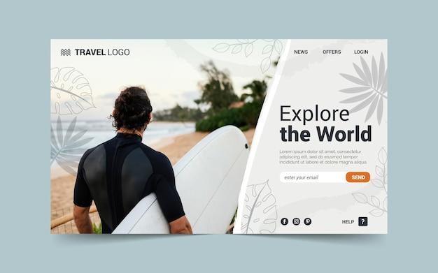 Modèle de page de destination d'aventure dessiné à la main avec photo