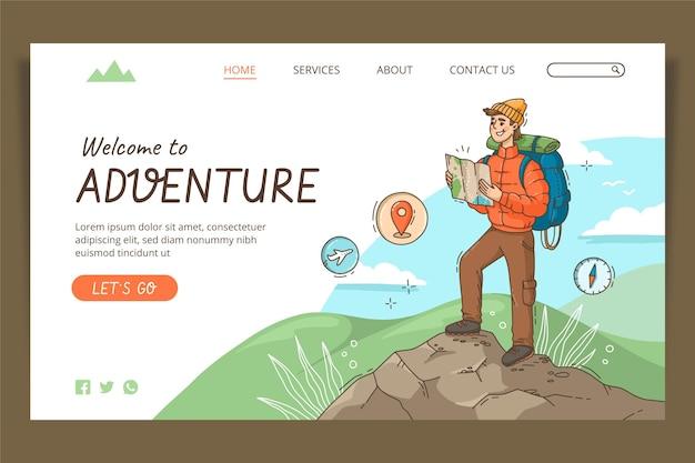 Modèle de page de destination d'aventure dessiné à la main