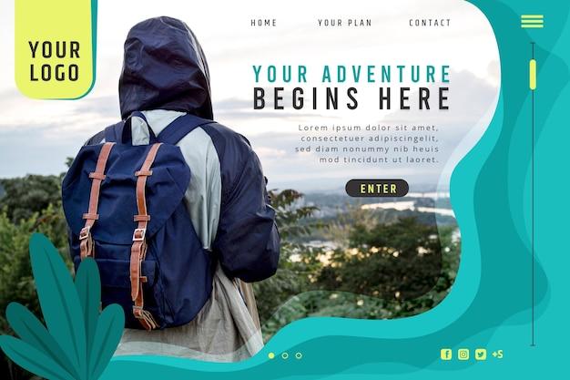 Modèle de page de destination d'aventure avec photo