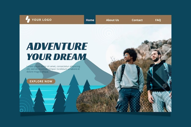 Modèle de page de destination d'aventure plate avec photo