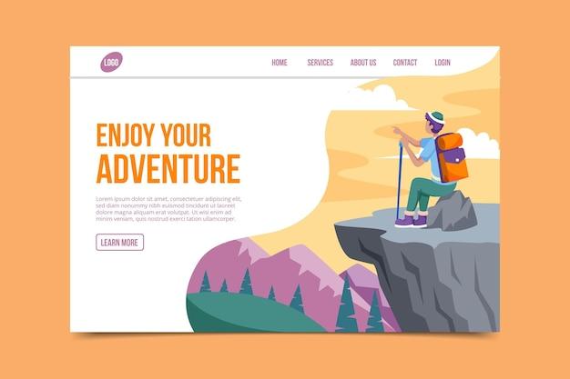 Modèle de page de destination d'aventure plate