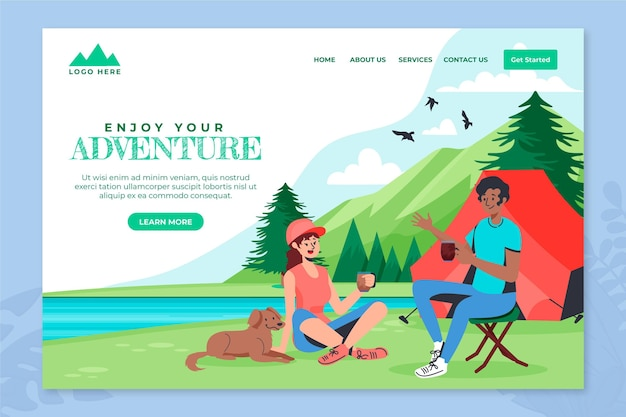 Modèle de page de destination d'aventure