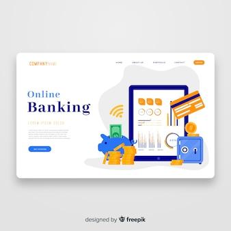 Modèle de page de destination bancaire en ligne