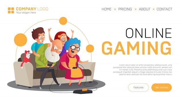 Modèle de page de destination ou de bannière de jeu en ligne. illustration dans un style plat avec des grands-parents drôles jouer à des jeux vidéo avec leurs petits-enfants assis sur le canapé isolé sur blanc
