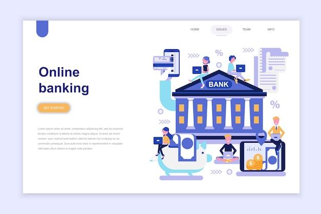 Modèle de page de destination de la banque en ligne