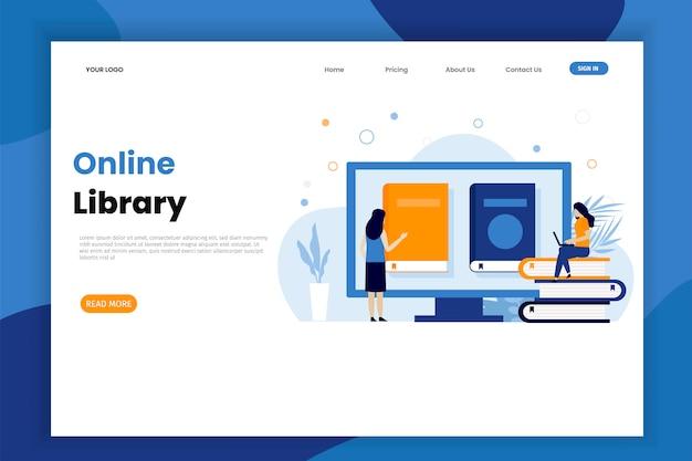 Modèle de page de destination de bibliothèque en ligne avec personnage