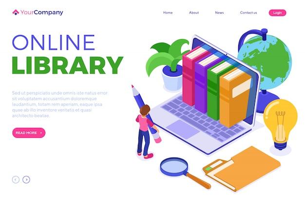 Modèle de page de destination de la bibliothèque en ligne