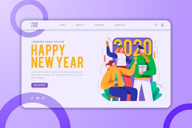 Modèle de page de destination de bonne année
