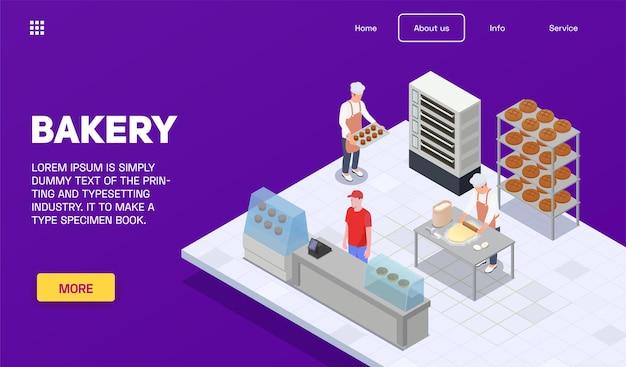 Modèle de page de destination de boulangerie isométrique