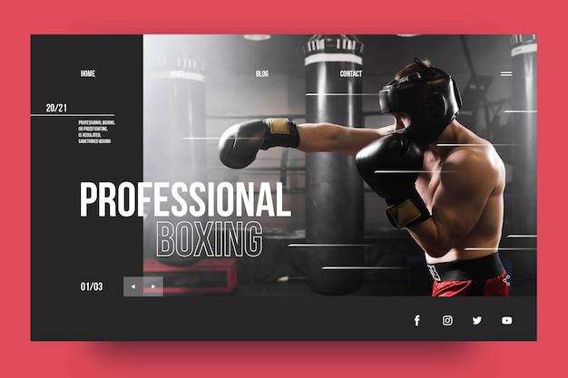 Modèle de page de destination de boxe professionnelle