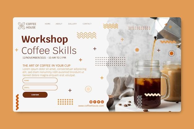 Modèle de page de destination de café