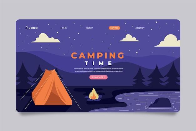 Modèle de page de destination de camping avec tente