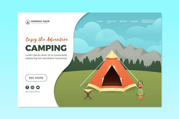 Modèle de page de destination de camping