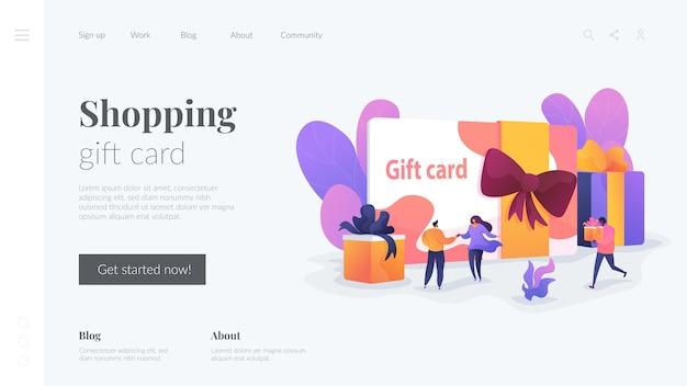 Modèle de page de destination de carte-cadeau shopping