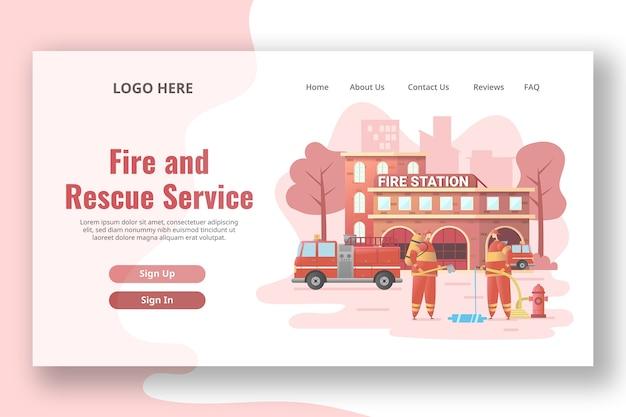 Modèle de page de destination de la caserne de pompiers