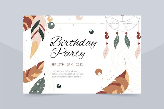 Modèle de page de destination de célébration d'anniversaire boho