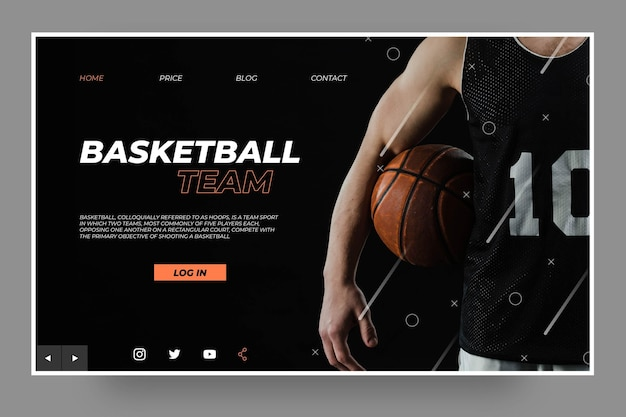 Modèle de page de destination de champion de basket-ball